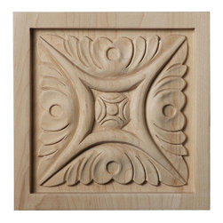 """Ekena Millwork - 5 1/8""""W x 5 1/8""""H x 7/8""""D Large Middlesbrough Rosette, Cherry - Our rosettes are the perfect accent pieces to cabinetry, furniture, fireplace mantels, ceilings, and more.  Each pattern is carefully crafted after traditional and historical designs.  Each piece is carefully carved and then sanded ready for your paint or stain.  They can install simply with traditional wood glues and finishing nails."""
