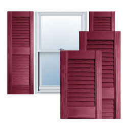 """Alpha Systems LLC - 12"""" x 71"""" Premium Vinyl Open Louver Shutters,w/Screws, Berry Red - Our Builders Choice Vinyl Shutters are the perfect choice for inexpensively updating your home. With a solid wood look, wide color selection, and incomparable performance, exterior vinyl shutters are an ideal way to add beauty and charm to any home exterior. Everything is included with your vinyl shutter shipment. Color matching shutter screws and a beautiful new set of vinyl shutters."""