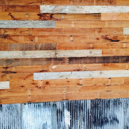old dog new tricks - Reclaimed / distressed wood - coming usually from behind the walls & beneath the floors of old craftsman & Victorian homes, can be used as an accent wall within a home or office, as wainscoting or sidewalls to cabinets. Concrete countertops are also a nice change from granite as it could be stained rust, matte, high gloss or just sealed - simple but elegant.