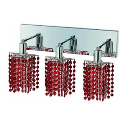 "PWG Lighting / Lighting By Pecaso - Wiatt 3-Light 14.5"" Crystal Vanity Fixture 1091W-O-P-BO-SS - Whether shown individually or as a collection, our Mini Crystal Chandeliers are stunning in any fashion. This stylish collection offers stunning crystal in a range of colorful options to suit every decor."