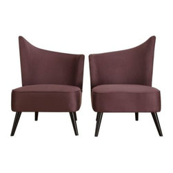 Armen Living Elegant Accent Chair with Flaired Back - Purple Microfiber - The Armen Living Elegant Accent Chair with Flaired Back – Purple Microfiber is a colorful, contemporary selection that makes a statement. This chair's sloping back is a unique, modern design that looks great when paired with an opposing model side-by-side for a beautifully symmetrical presentation. Both left and right flaired back designs are available, each of which is made from a kiln-dried wood frame and purple microfiber upholstery that's soft to the touch and easy to clean. Measures: 28W x 25D x 39H inches and features 1.8 density fire retardant foam cushioning for your comfort. Some assembly is required.About Armen LivingImagine furniture without limits - youthful, robust, refined, exuding self-expression at every angle. These are the tenets Armen Living's designers abide by when creating their modern furniture collections. Building on more than 30 years of industry experience, Armen Living combines functional versatility and expert craftsmanship into their dramatic furniture styles, all offered at price points fit for discriminating budgets. Product categories include bar stools, club chairs, dining tables, ottomans, sofas, and more. Armen Living is based in Sun Valley, Calif.