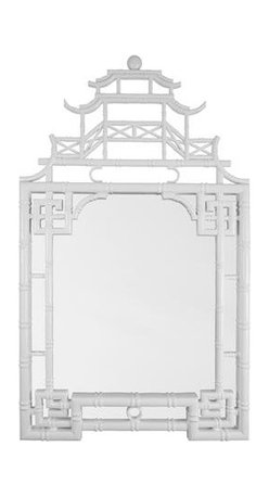 Chinese Chippendale Mirror, White - An iconic Chinese Chippendale pagoda mirror would be the focal point of your entryway or dining room.