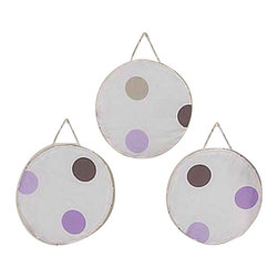Sweet Jojo Designs - Purple Mod Dots Wall Decor (Set of 3) - The Purple Mod Dots Wall Decor (Set of 3) includes 3 wall hangings that will add a designers touch to any childs room! These childrens wall hangings will complete the look of your child's room.
