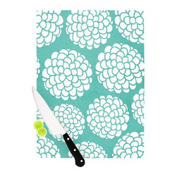 """Kess InHouse - Pom Graphic Design """"Hydrangea's Blossoms"""" Teal Circles Cutting Board (11"""" x 7.5"""" - These sturdy tempered glass cutting boards will make everything you chop look like a Dutch painting. Perfect the art of cooking with your KESS InHouse unique art cutting board. Go for patterns or painted, either way this non-skid, dishwasher safe cutting board is perfect for preparing any artistic dinner or serving. Cut, chop, serve or frame, all of these unique cutting boards are gorgeous."""