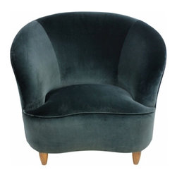 ecofirstart - Large Sculptural Armchair - Large Italian lounge chair of generous sculptural form in the manner of Ico Parisi. Upholstered in dark green velvet and on turned legs.