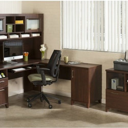 Bush Furniture - Bush Office Connect Achieve L-Shaped Desk with Hutch and Lateral File - Sweet ...