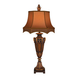 Fine Art Lamps - Brighton Pavillion Table Lamp, 305410ST - Table lamp in aged bronzed sienna finish with golden accents. Hand-made shade in gold dupioni and elegant stripe silk features arched gallery.