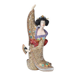 EttansPalace - Odoriko Geisha Asian Statue Sculpture Figurine Aiko - Welcome the beauty of Asia with this graceful fanning Odoriko Oriental geisha statue who dances the Kyomai. Authentically arrayed from her delicate bira-bira hair pins to her flowing and elaborately floral bedecked kimono, this gallery-worthy Asian sculpture is cast in quality designer resin, then intricately hand-painted and accented with tiny beads and flowers.
