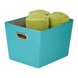 Medium Decorative Storage Bin With Handles -- Blue - 15.75 in l x 13 in w x 10.8 in h /40 cm l x 33 cm w x 27.4 cm h