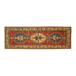 Manhattan Rugs - New Hand Knotted Traditional Kazak Runner 3'x8' Oriental Red & Ivory Rug H3438 - This is a true hand knotted oriental rug. it is not hand tufted with backing, not hooked or machine made. our entire inventory is made of hand knotted rugs. (all we do is hand knotted)