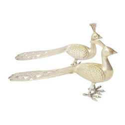 Brass Peacocks, Pair - A pair of brass peacocks with long feathered tails. Highly detailed feathers and feet. One male one female. A lovely decorative addition to a coffee table or fireplace.