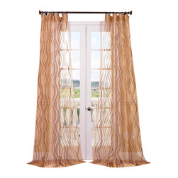 """Exclusive Fabrics & Furnishings, LLC - Alegra Gold Embroidered Sheer Curtain - 100% Polyester. 3"""" Pole Pocket. Imported. Dry Clean Only."""