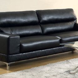 Coaster - Benjamin Black Bonded Leather Sofa - Create a casual yet sophisticated living room with this generously cushioned sofa collection. High split back cushions and sleek bonded leather match fabric will to last for years without losing appeal. Chrome accented legs and high resilience foam seating ensure this sofa is built to bring you lasting support. This collection is offered in three upholstery colors: black, grey or white.