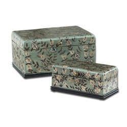 Uttermost - Aciano Hand Painted Boxes, Set of 2 - A romantic way to store your precious items. Whether you use them to hold jewelry, letters or other mementos, this pair of hand-painted boxes is sure to delight.