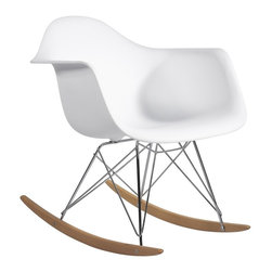Hampton Modern - Molded Plastic Armchair Rocker in White - This Mid-century retro modern rocker is made of a molded plastic seat connected to a steel base frame, on a solid ash wood rocking base. Often found in a nursery or near a warm fireplace in the living room, it adds a bit of whimsical fun to any corner.