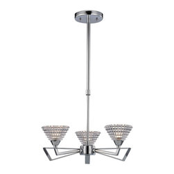 Elk Lighting - Frenzy 3-Light Chandelier in Polished Chrome - The excitement of mid-century design is evident in the Frenzy Collection. Finished in polished chrome, this series features angular arms that flair outward while beveled crystal glass emits an impressive textured light.