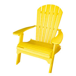 Phat Tommy - Deluxe Adirondack Chair in Yellow - Today, more than ever, people are finding their place of relaxation in their own backyard. Chairs stay beautiful year after year with no rotting, splitting or cracking.