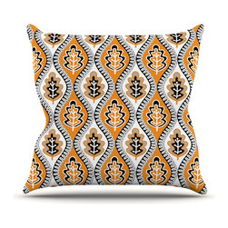 """Kess InHouse - Jacqueline Milton """"Oak Leaf - Orange"""" Floral Orange Throw Pillow (Outdoor, 18"""" x - Decorate your backyard, patio or even take it on a picnic with the Kess Inhouse outdoor throw pillow! Complete your backyard by adding unique artwork, patterns, illustrations and colors! Be the envy of your neighbors and friends with this long lasting outdoor artistic and innovative pillow. These pillows are printed on both sides for added pizzazz!"""