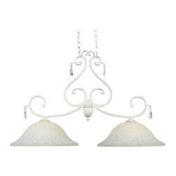 Kenroy - Kenroy-92048WW-Chamberlain - Two Light Island - Delicate curves, and a French design, influence give Chamberlain's timeless profile and chic Weathered White finish a matriarchal presence. Attention to detail, and the sparkle of cut glass accents, festoons this regal family.