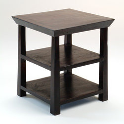 CG Sparks - Rosewood Kishu End Table - Add a touch of India to your decor with the Kishu end table. Handcrafted from solid Indian rosewood, this end table boasts both quality and style. Story Behind the Art: This product was created in North Western India. Once the British removed its armed forces from the region in the late 40s, a majority of the industries available for the local economy disappeared with them. The indigenous people went back to the traditional crafts and furniture manufacturing that they had known for generations. Several hub cities of industry have flourished, creating numerous, sustainable, and stable jobs for the people of the surrounding villages, to augment the time between harsh growing seasons. The industry that has been created by products like this has created an unprecedented number of schools, hospitals, and improvements in infrastructure. This industry has truly created a renaissance in economic growth in the region. If buying two of the same item, slight differences should be expected. Note: Color discrepancies may occur between this product and your computer screen. Imported. Ships carbon neutral. Features: -Handmade from solid Indian rosewood.-Crafted in the Thar Desert by local artisans.-Tapered legs.-Simple bevel.-Deep espresso finish.-Rosewood collection.-Collection: Rosewood.-Distressed: Yes.-Powder Coated Finish: No.-Gloss Finish: No.-Solid Wood Construction: Yes.-Nesting Tables: No.-Non-Toxic: Yes.-UV Resistant: No.-Scratch Resistant: No.-Weather Resistant or Weatherproof: Not weather resistant.-Water Resistant or Waterproof: Not water resistant.-Stain Resistant: No.-Lift Top: No.-Storage Under Table Top: No.-Glass Component: No.-Legs Included: Yes.-Casters: No.-Stackable: Yes.-Reclaimed Wood: Yes.-Adjustable Height: No.-Outdoor Use: No.-Commercial Use: No.-Recycled Content: No.-Product Care: We recommend using a cleaning solution of 3 parts water to 1 part white vinegar. Clean with a cotton rag..-Powered: No.Dimensions: -Over