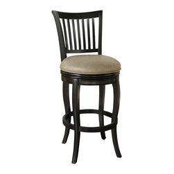"American Heritage - American Heritage Maxwell Stool in Black with Mushroom Bonded Leather - 26 Inch - Clean lines and subtle curves make this style a classic, suitable for any decor. Wood finished in black with 3"" Mushroom bonded leather, featuring a Full-bearing 360� swivel, durable Mortise and tenon construction, Adjustable leg levelers, and fully-integrated back support."