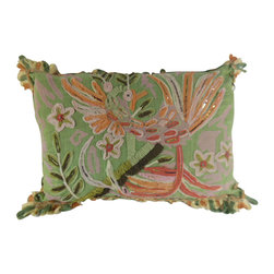 """www.pillowtalkdirect.com - 15"""" x 20"""" Embellished Contemporary Fabric Art Pillow - Very unique contemporary fabric art with embellishments, beads, and lots of detailed applique on cotton with striped silk back. Cotton loop-edge trim. Feather filled."""