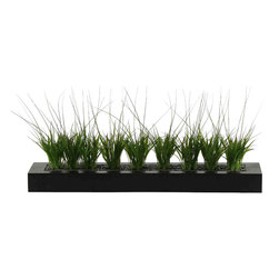 D&W Silks - D&W Silks Onion Grass in Tray - Grass set in small black river rock go along in a long black box in this piece, which is a great way to add some greenery to a contemporary design space. This grass tray works well on a table or ledge, and requires only occasional dusting. Comes assembled as pictured and will keep it's color for many years to come.