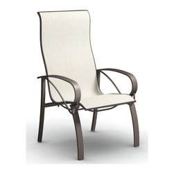 Homecrest - Homecrest Vision Steel Sling High Back Dining Chair - Graceful lines and stylish details are the hallmarks of Vision Homecrest's newest steel collection. Exceptionally comfortable with the unparalleled quality you expect from Homecrest Vision incorporates artisanal design elements of the Old World with all of the durability and weather-resistance we need in the New. Available in Sling Padded Sling and Homecrest Woven in both dining and balcony heights Vision brings beauty and engagement to outdoor spaces.Specializing in modern furniture with some contemporary and traditional designs Homecrest has been one of the standard bearers for the casual furniture industry for over six decades. Manufactured in Wadena Minnesota Homecrest signature style makes the pieces instantly recognizable. While the style will fit in with almost any home built in the last century the comfort will be what your friends and family remember about your Homecrest patio furniture set. With their classic style in addition to the standard cushion sling and padded sling options you will Homecrest patio furniture has the options to fit your life.  Features include Steel offers solid sturdiness and durability Superior all-weather resistance to wet weather as well as rust Suitable to be used in any outdoor area Offered in wide selection of sling options Arm handles are offered for comfort and style. Specifications Seat Height: 17.5 Arm Height: 24.5.