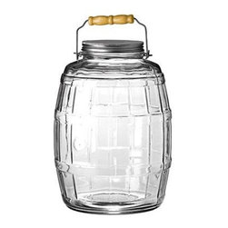 Anchor Hocking - 2.5 Gal Barrel Jar - Anchor Hocking 2.5 gallon clear glass storage Barrel Jar with Metal Lid and Handle.  This item cannot be shipped to APO/FPO addresses. Please accept our apologies.
