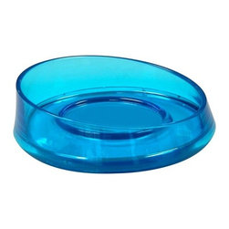 Gedy - Round Thermoplastic Soap Dish, Transparent Turquoise - Just the soap dish & holder for a more contemporary & modern master bathroom - keep soap handy with this soap dish & holder. This free-standing oval soap dish/holder is available in white, transparent turquoise, and transparent purple. Made in very high quality thermoplastic resins. Made in Italy by Gedy. Contemporary & modern soap dish & holder made of thermoplastic resins. Finished in white, transparent turquoise, or transparent purple. Part of the Gedy Flou collection. Made in and imported from Italy. Luxurious, high-end soap dish/holder.