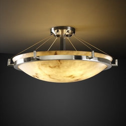 "Justice Design Group - Justice Design Group FAL-9682 24"" Round Semi-Flush Bowl Ceiling Fixture with Rin - Justice Design Group FAL-9682 24"" Round Semi-Flush Bowl Ceiling Fixture with Ring from the LumenAria CollectionThe LumenAria� Collection offers the look of genuine carved alabaster without the cost. These faux alabaster fixtures combine many of your favorite Justice Design Group, LLC shapes with the warmth and beauty of an alabaster glow.From an elegant lamp atop a contemporary end table to a dramatic sconce illuminating a formal entryway, Justice Design offers a wide array of lighting solutions for residential and commercial settings. Create a mood, complement a theme, or simply add the perfect accent with a Justice Design decorative lighting fixture."
