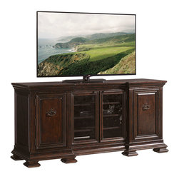 Lexington - Lexington Prestonwood Yorkshire Media Console 248WN-661 - The two wood framed antique glass doors in the center allow for remote control of media devices. Two raised paneled doors reveal three adjustable wood shelves behind each for storage.