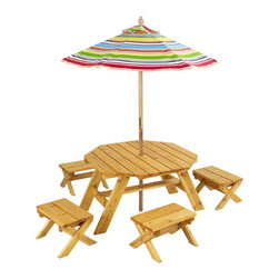 KidKraft - Octagon Table and 4 Stools, Multi Striped Umbrella by Kidkraft - With our Octagon Table and 4-Stool Set, kids can finally use patio furniture designed with them in mind. This furniture set is perfect for any young child who loves to be outdoors.
