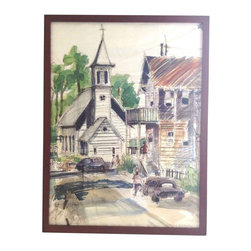 Pre-owned Original Crayon & Watercolor - An original painting in crayon and watercolor of a Northern California street scene. The work is signed by the artist and framed in a dark wooden box frame.