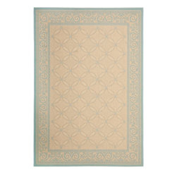"""Safavieh - Indoor/Outdoor Courtyard 6'7""""x9'6"""" Rectangle Cream - Aqua Area Rug - The Courtyard area rug Collection offers an affordable assortment of Indoor/Outdoor stylings. Courtyard features a blend of natural Cream - Aqua color. Machine Made of Polypropylene the Courtyard Collection is an intriguing compliment to any decor."""