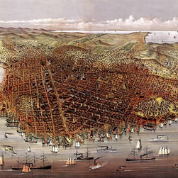 San Francisco Birds-eye View - 1878 Wall Map Mural - Peel and Stick 1-Panel - A birds-eye view of San Francisco from the bay looking southwest. This stunning  panoramic map was sketched by C.R. Parsons and originally published in 1878 by  Currier & Ives. The map offers look into San Francisco's past with colorful  illustrations of buildings, streets, and a bay filled with ships from the 1800's. Looking west into  the distance is Golden Gate Park and the Pacific Ocean.