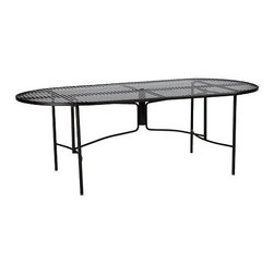 Ballard Designs - Castellon 84 Inch Oval Dining Table - Coordinates with our Castellon Outdoor Dining Chairs. Charcoal finish. Table Top has basket weave stamped design for easy care. Use of an outdoor furniture cover is recommended to extend the life of your piece. Made in USA. The simple, sculptural lines and timeless details of our Castellon Outdoor Oval Dining Table whisper relaxation with effortless style. Wrought iron and steel frame is fully welded for enduring strength and powder-coated to resist moisture, chipping and rust.Castellon Dining Table features:. . . . .
