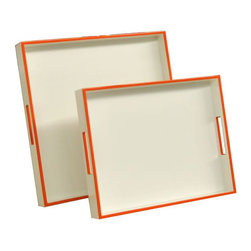 Lacquered Trays, White And Orange Edge - Glass top tables are our choice for the perfect cocktail tables. Set out drinks and hors d'oeuvres without worrying about spills or rings — no coasters required!