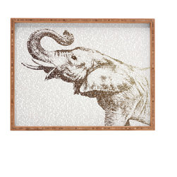 DENY Designs - Belle13 The Wisest Elephant Rectangular Tray, Large - With DENY'S multifunctional rectangular tray collection, you can use it for decoration in just about any room of the house or go the traditional route to serve cocktails. Either way, you'll be the ever so stylish hostess with the mostess! The tray frame is 100% sustainable, eco-friendly flat grain Amber Bamboo. Our bamboo is manufactured without added formaldehyde and is FSC 100% certified. High gloss printed tray bottom. Custom made in the USA for every order