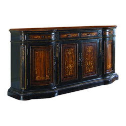 Hooker - Hooker Furniture Chests and Consoles 85 Credenza 957-85-122 - Bring a dramatic traditional element to your home with this two-tone credenza. Beautiful veneer inlays decorate the credenza front and top and contrast against the high-impact heavy black gesso finish. Hand painted gold designs and a gold rub-through on the finish create a distinct, antique look. A gadrooned bottom and decorative wooden motifs add traditional style. Place a set of decorative lamps on or a large vase of flowers on the X-motif inlaid top of the four door credenza and use in your hallway, entry area or foyer as an accent table. Or use the cabinet top as a buffet area in your dining room for serving appetizers during a formal dinner party or a large holiday dinner. The cabinet could also serve as a console or sofa table in your living room, family room or den for added storage and traditional style. The four drawers are perfect for storing small items like coasters, extra keys and stationary. The bottom compartments each have an adjustable shelf and can store larger home accessories like table linens, photo albums and books. This antique credenza will bring classic style and design to any room in your home.