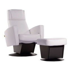 Dutailier New Swivel Glider Recliner with Ottoman - Glide, swivel, and lull your little ones to sleep with the help of the Dutailier New Swivel Glider Recliner with Ottoman. This hip glider and ottoman combo features a very modern style upholstered in a superior quality white leather-like material. It's ergonomically designed for optimal comfort in any position. The gliding motion is effortless and the easy 360-degree swivel motion provides full freedom of movement while remaining seated. Activated by a hidden lock release handle the reclining system provides an infinite number of positions and the necessary support for your head and lower back. The matching ottoman offers maximum comfort and allows gliding while in the reclined position for complete relaxation.About DutailierDutailier is a privately owned Canadian company established nearly 30 years ago. The company began as a manufacturer of wood components and furniture, including a limited number of glider rocker models. In 1988, Dutailier began focusing all research and resources into becoming the premier producer of glider rockers. It succeeded by bringing the finest technology, superior quality and durability, and patented mechanisms to its furniture. With this expertise, Dutailier has manufactured more than 4 million chairs in North America and Europe. The company has now expanded its market reach with the acquisition of E.G. Furniture, makers of high-end wood bedroom furniture for babies, children, and teens. Dutailier is committed to excellence and meeting its customers' needs and expectations.