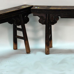 Carved Chinese Antique Gate Bench - Carved Chinese Antique Gate Bench