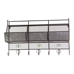 Urban Trends Collection - Metal Shelf 3-hook Coat Hanger - Add a touch of functionality to any living space with this Metal Shelf Coat Hanger. This piece features a durable metal construction,a three-hook design and contemporary styling.