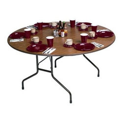 Correll Round Melamine Folding Table - Brown - Lightweight and easy to store, the Correll Melamine Round Folding Table fits well with banquet venues and convention centers. The durable design lets you entertain your guests for years to come. Fold up when not in use to make room on the floor. Choose from a selection of sizes to accommodate your needs. 48 Inch TableDimensions: 48 Dia x29H InchesWeight: 60 lbsSeats: up to 6 people60 Inch TableDimensions: 60 Dia x29H InchesWeight: 85 lbsSeats: up to 8 people