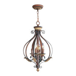 Livex - Livex 8556-63 Villa Verona Pendants Verona Bronze with Gold Leaf Accents - Livex 8556-63 Villa Verona Pendants in Verona Bronze with Gold Leaf Accents with Rustic Art Glass.