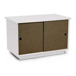 "Loll Designs - Small Credenza - Features: -Made with a thick poly case that is both weather resistant and durable. -Sliding doors are made with richlite paper composite that will hold up for years outdoors. -Slotted holes in the bottom allow for air - flow to keep the inside dry and mold free, especially when damp belongings go back inside. -18"" tall it can double as a cocktail table and a bench. -Easy to fit your space and storage needs. -Assembly required. -17.75"" H x 28"" W x 16"" D."