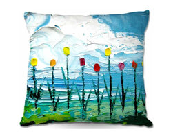 DiaNoche Designs - Pillow Linen - Stories from A Field Act cxii - DiaNoche Designs works with artists from around the world to create astouding and unique home decor products.  Add a little texture and style to your decor with our Woven Linen throw pillows.  The material has a smooth boxy weave.  Each pillow is machine loomed, then printed and sewn ALL IN THE USA!!!  100% smooth poly with cushy supportive pillow insert with a hidden zip closure. Dye Sublimation printing adheres the ink to the material for long life and durability. Double Sided Print, machine wash upon arrival for maximum softness. Product may vary slightly from image.