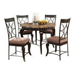 """Acme - 5-Piece Galiana Collection Round Brown Marble Top and Espresso Metal Dining Set - 5-Piece Galiana collection round brown marble top and espresso finish metal dining table set with fabric upholstered chairs. This set includes the Dining table with brown marble top and espresso finish metal frame and 4 - side chairs upholstered in a patterned fabric upholstery. Table measures 44"""" Dia. Chairs measure 41"""" H to the back. Some assembly required."""