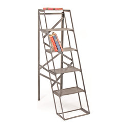 """Factory Ladder Bookshelf - Climb the style ranks with this sturdy, metal ladder-shaped bookshelf. The broad metal """"steps"""" keep your books and bits safely in order, while maintaining that industrial, urban inspiration."""