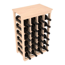 Wine Racks America - 24 Bottle Kitchen Wine Rack in Ponderosa Pine, (Unstained) - Petite but strong, this small wine rack is the best choice for converting tiny areas into big wine storage. The solid wood top excels as a table for wine accessories, small plants, or whatever benefits the location. Store 2 cases of wine in a space smaller than most televisions!